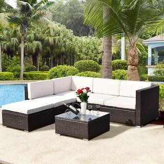 outdoor rattan furniture costway 4 pcs outdoor patio rattan wicker furniture set loveseat cushioned GQIHCXM
