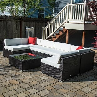 outdoor seating 7 piece rattan sectional seating group with cushions CRQLJFL
