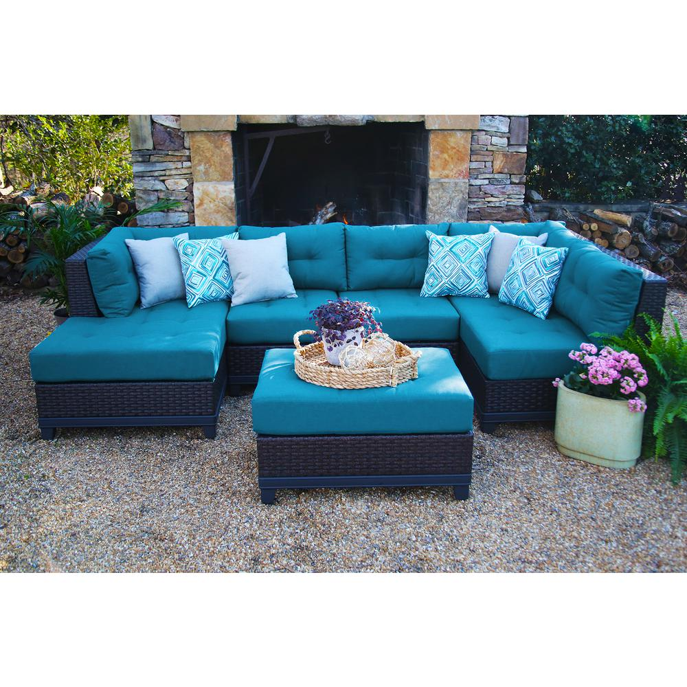 outdoor sectionals ae outdoor hillborough blue 4-piece all-weather wicker outdoor sectional  with sunbrella NXSTFJS