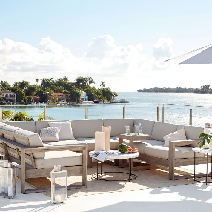 outdoor sectionals build your own portside outdoor sectional - weathered gray   west elm GZWODRR