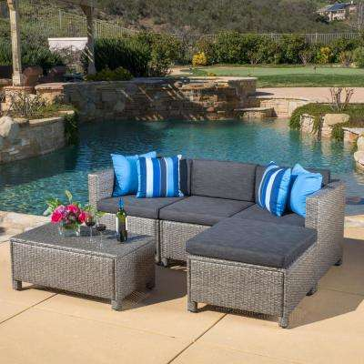 outdoor sectionals puerta gray 5-piece wicker outdoor sectional with black cushions FLFQBPE