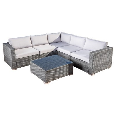outdoor sectionals santa rosa 6pc wicker seating sectional set with cushions - christopher UBFCOBS