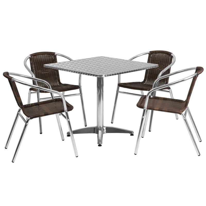 outdoor table and chairs 31.5u0027u0027 square aluminum indoor-outdoor table set with 4 dark brown rattan BLJCDJM