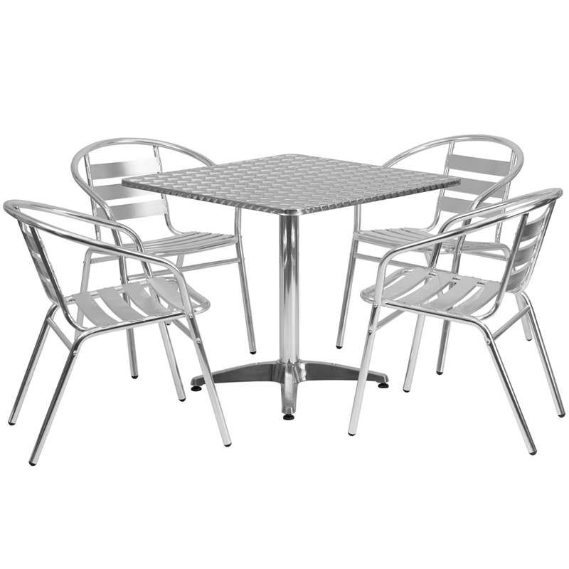 outdoor table and chairs 31.5u201d square aluminum indoor-outdoor table set with 4 slat back chairs MIHLCEH