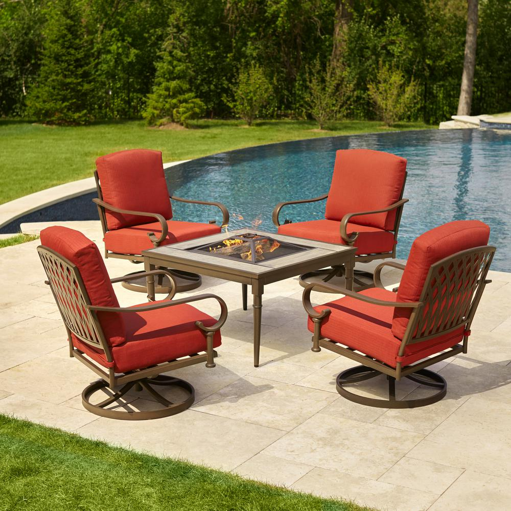 outdoor table and chairs oak cliff 5-piece metal patio fire pit conversation set with chili BTAVCYH
