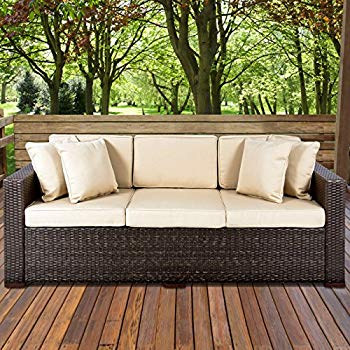 outdoor wicker furniture best choice products 3-seat outdoor wicker sofa couch patio furniture  w/steel UKLQGFU