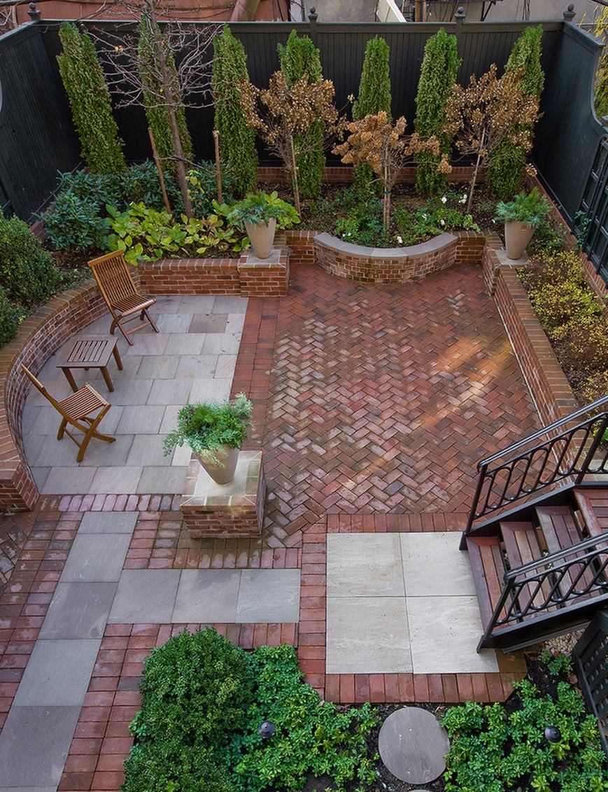 outdoors:tiny backyard design with beautiful brick patio and small wood  chairs IREPTVO