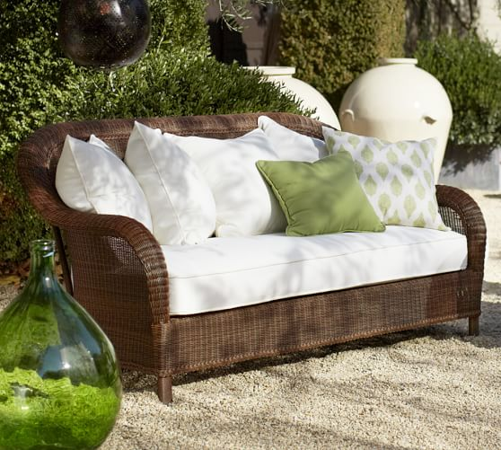 palmetto all-weather wicker sofa, honey PHMSRQL
