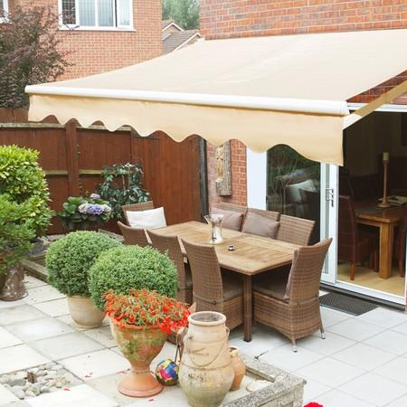 patio canopy xtremepowerus 10u0027x8u0027 manual retractable patio awning outdoor sun shade  canopy, ... IKGXRXQ