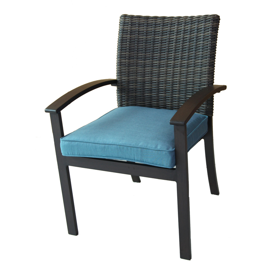 patio chair allen + roth atworth set of 4 aluminum dining chairs with peacockblue MKMHYKF