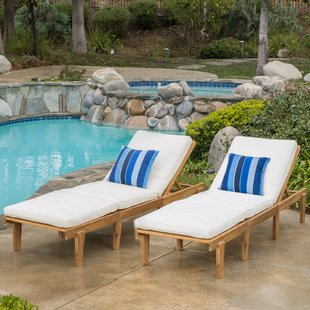 patio chaise lounge ardsley reclining chaise lounge with cushion (set of 2) CZVLCEO