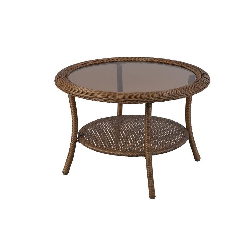 patio coffee table brown all-weather wicker round outdoor patio coffee JNFKOCB