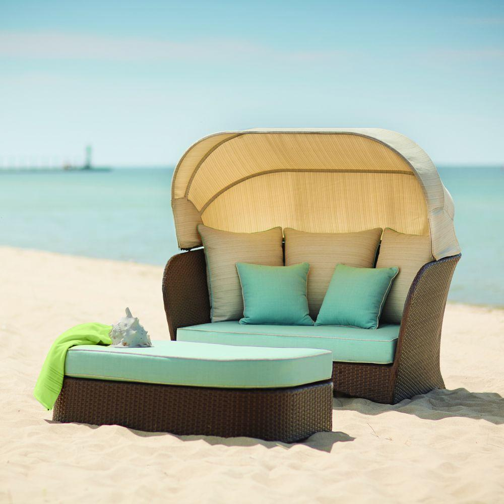 patio daybed hampton bay deerfield all-weather wicker patio day bed with blue cushions LYLDVHW