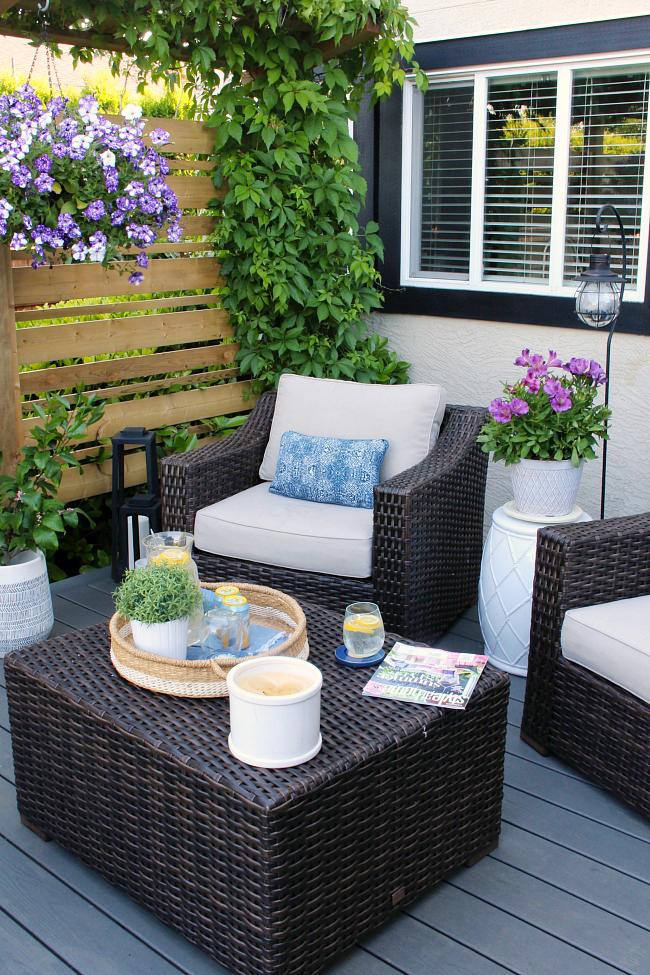 patio decorating ideas resin wicker patio furniture on a summer patio. ODOGRAK