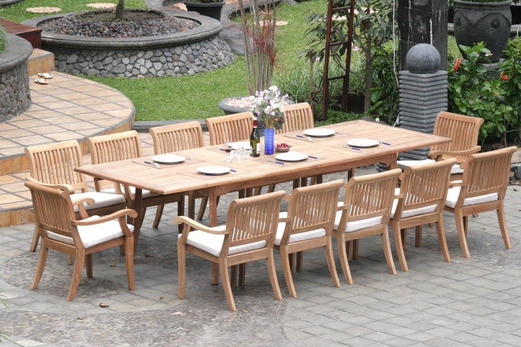 patio dining tables 13-piece-teak-dining-set TTYPBWF