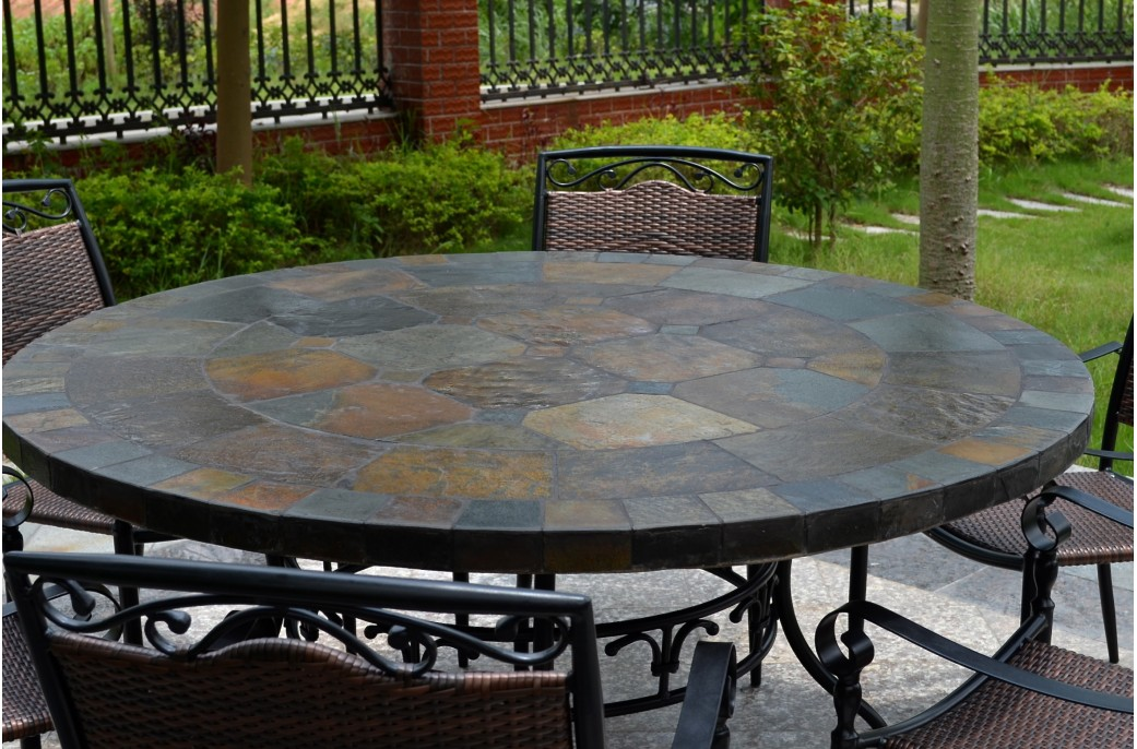 patio dining tables 63u0027u0027 round top slate outdoor stone patio dining table oceane ANTLOKH