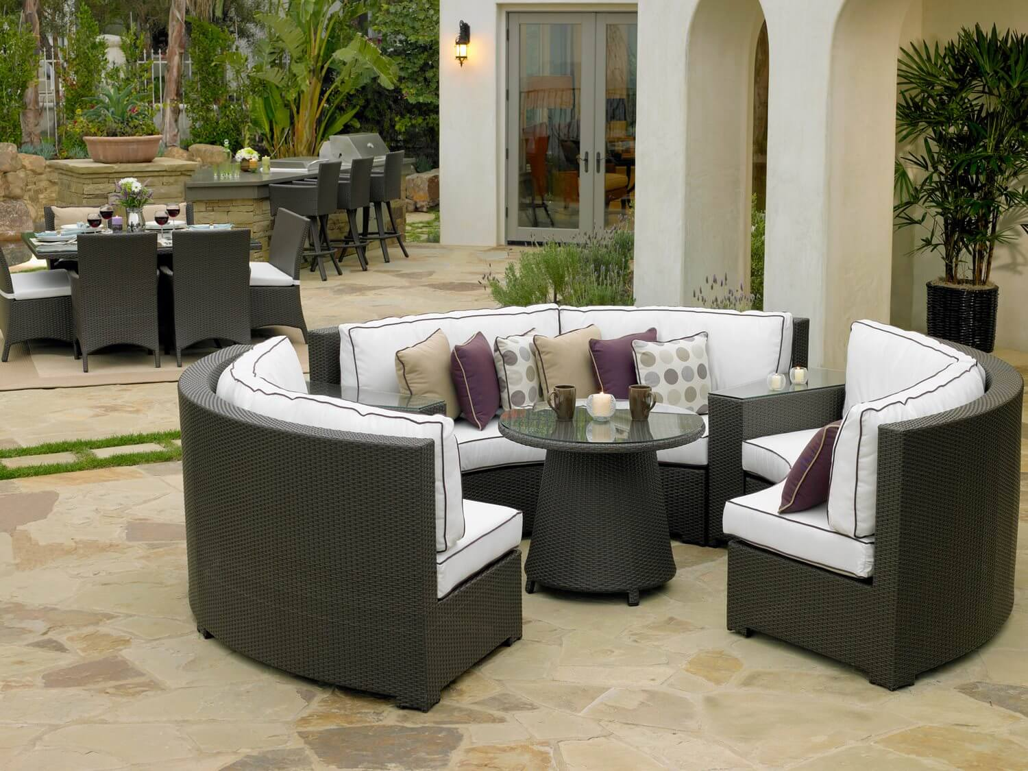 patio dining tables amazing modern round patio dining table and seating JMFQTRD