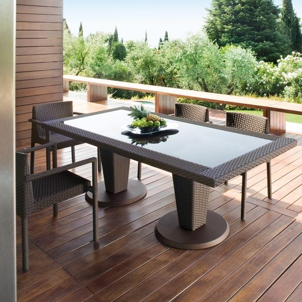 patio dining tables st tropez outdoor wicker dining table and chairs modern-patio YZYSVLI