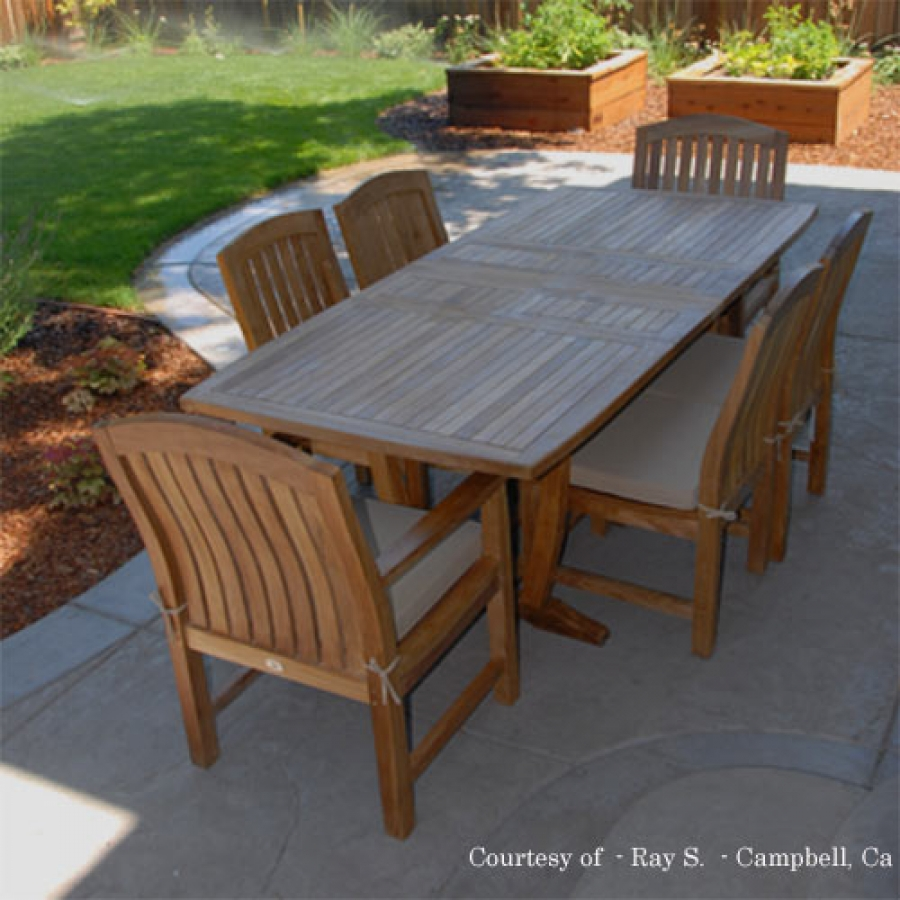 patio dining tables teak outdoor patio dining set - agean table u0026 zaire chair QMDAAMX
