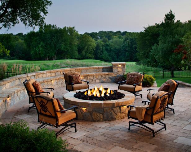 patio fireplace round fire pit for entertaining UOHMIOK