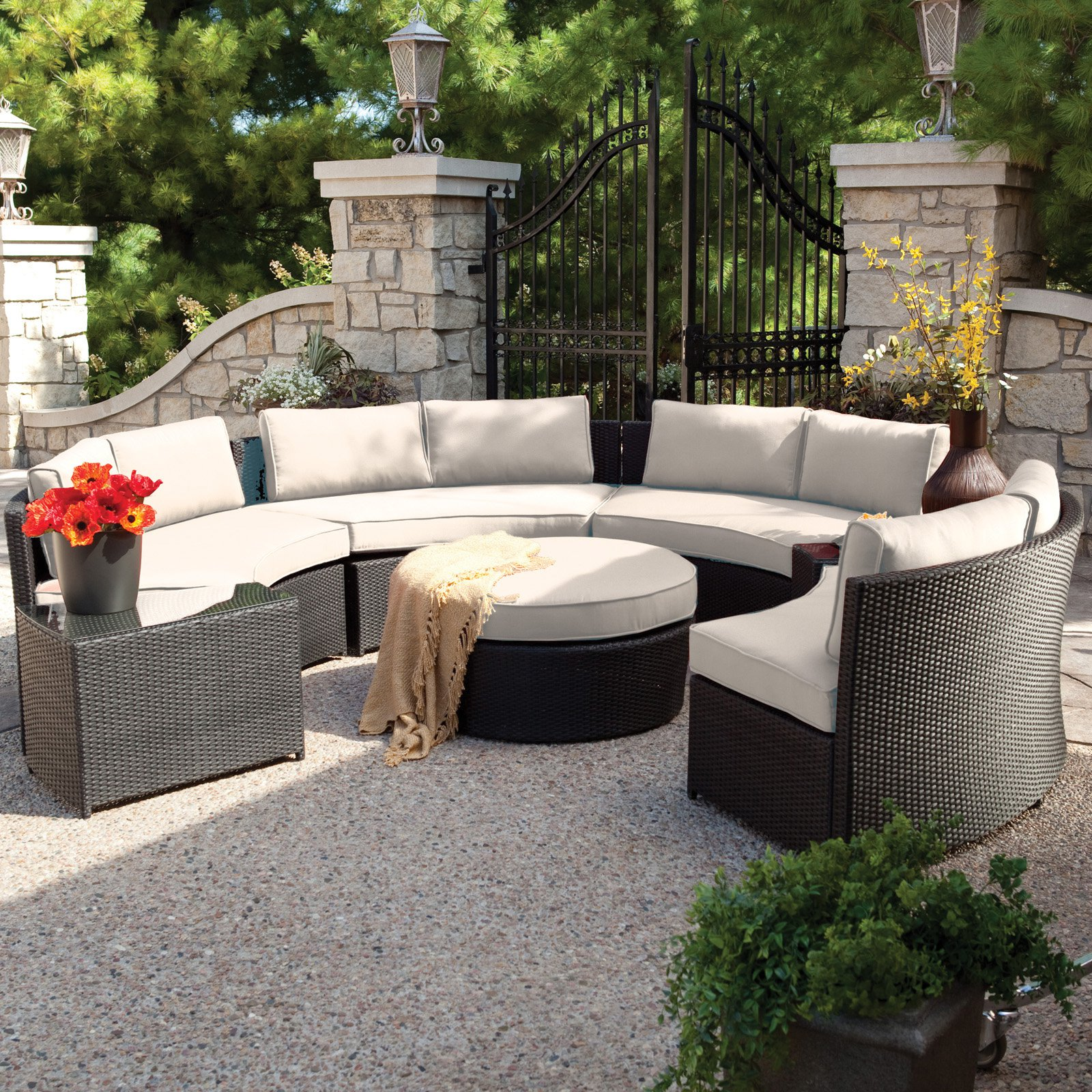 patio furniture sets belham living meridian round outdoor wicker patio furniture set with  sunbrella YRNPULH