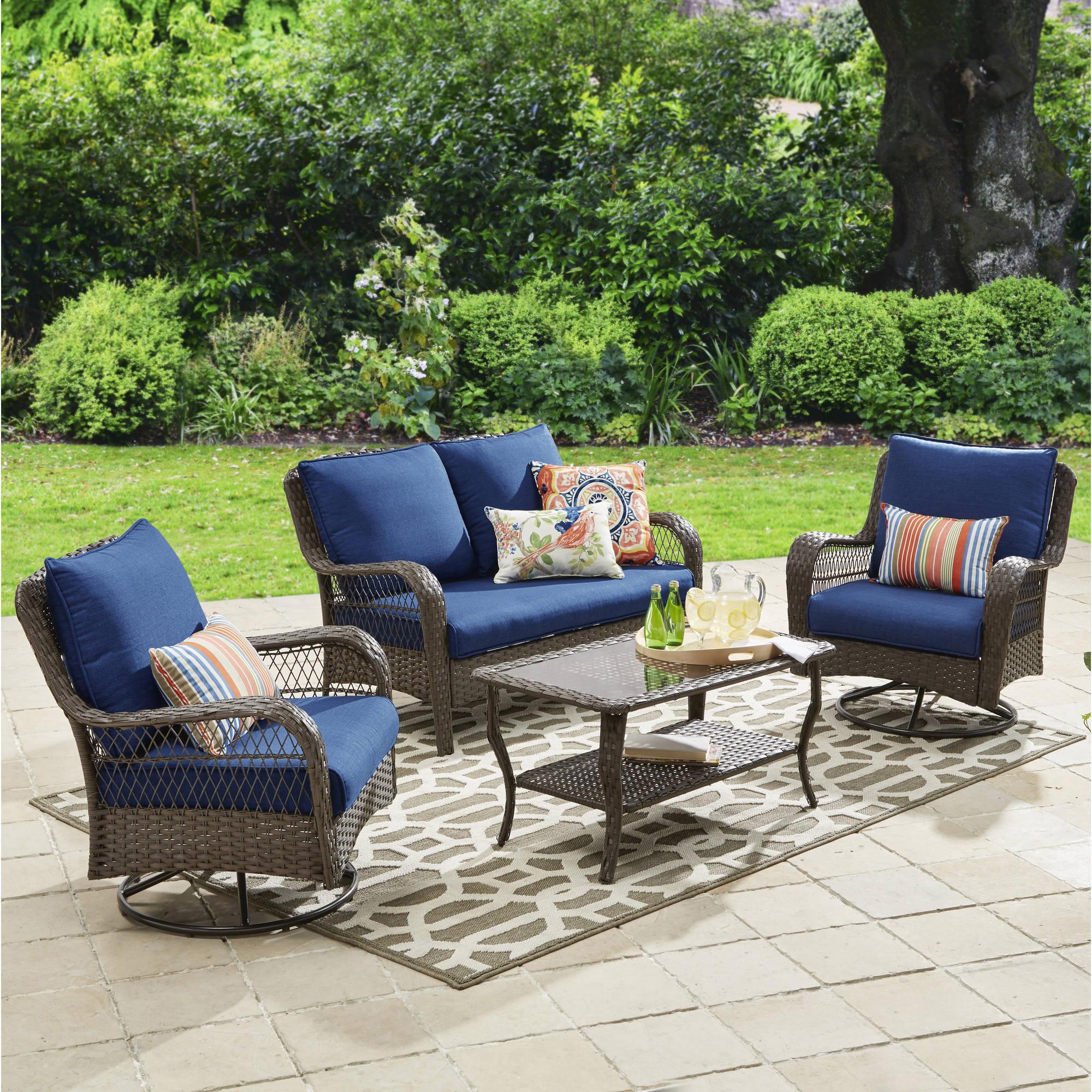 patio furniture sets better homes and gardens colebrook 4 piece outdoor conversation set - KPSJGXR