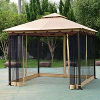 patio gazebo costway 2-tier 10u0027x10u0027 gazebo canopy tent shelter awning steel patio garden JLTGIIZ