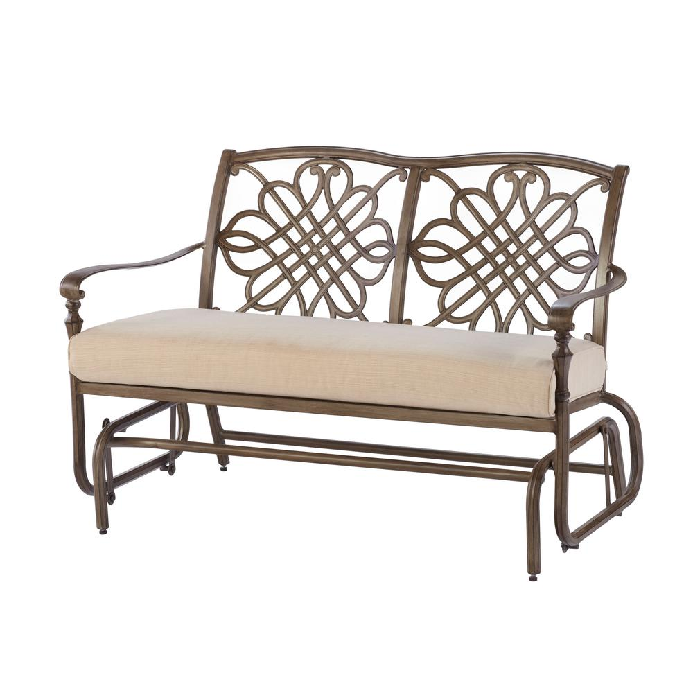patio glider cavasso metal outdoor glider with oatmeal cushion HFOHAGK
