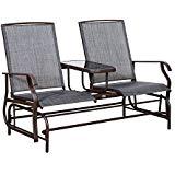 patio glider outsunny 2 person outdoor mesh fabric patio double glider chair w/center WFCXGUL