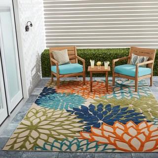 patio rug nourison aloha floral multicolor indoor/outdoor rug - 7u002710 HJVOYBR