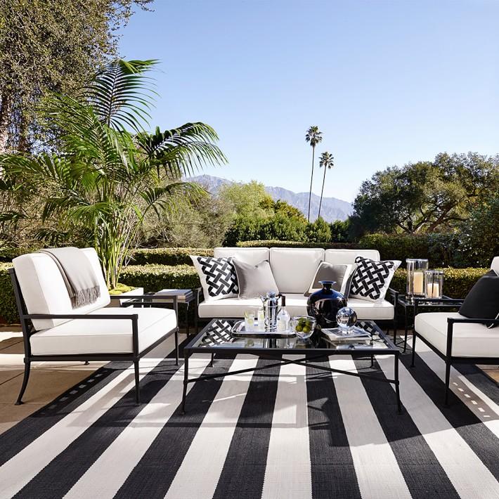 patio rug patio stripe indoor/outdoor rug, black   williams sonoma NGVFVEY