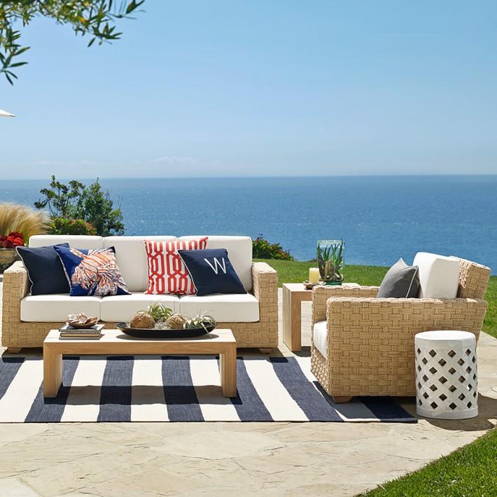 patio rugs patio stripe indoor/outdoor rug, dress blue | williams sonoma ZFUELNH