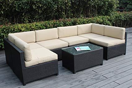 patio sectional ohana mezzo 7-piece outdoor wicker patio furniture sectional conversation  set, black QSRYFUP