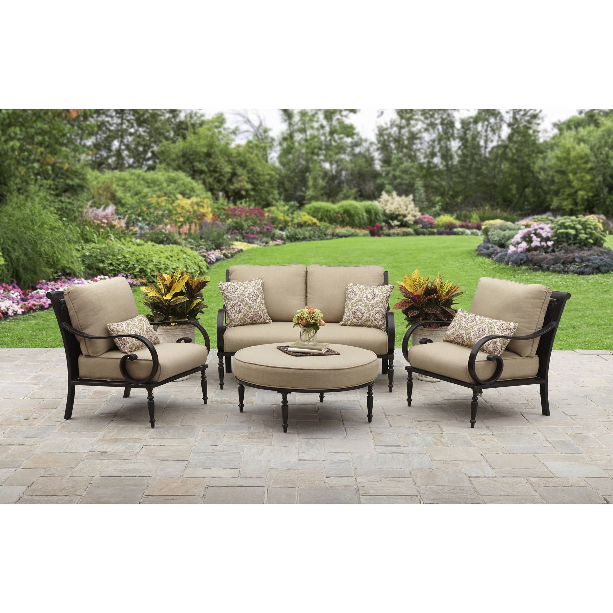 patio sets better homes and gardens englewood heights ii aluminum 4-piece outdoor patio ITEALEB