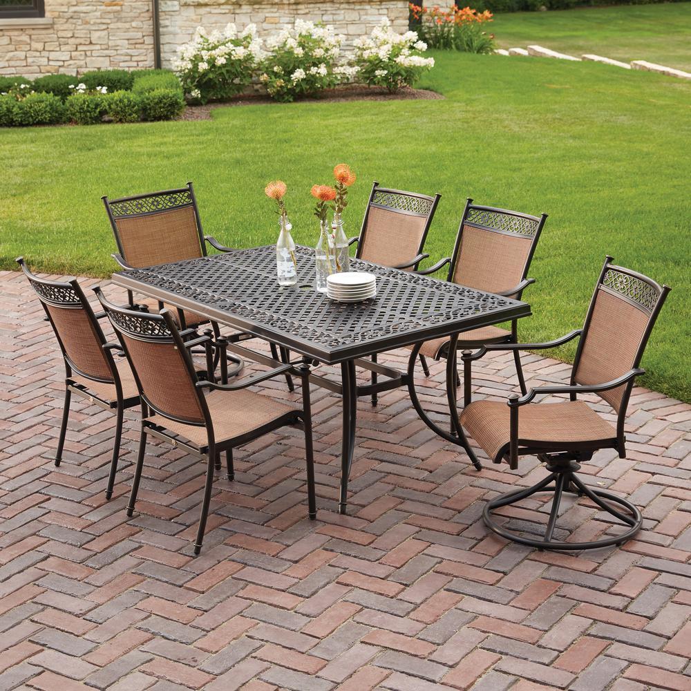 patio sets hampton bay niles park 7-piece sling patio dining set ZPIEQXO