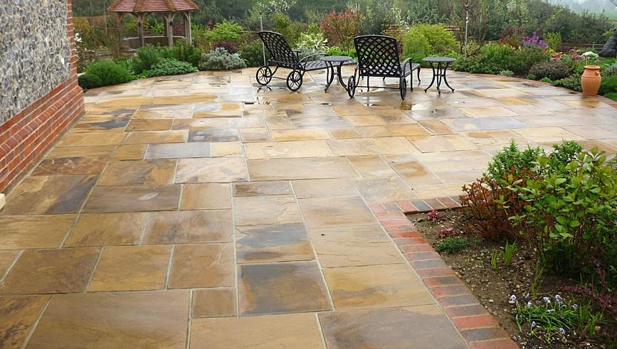 patio stones natural stone patio with garden furniture JNGRCPL