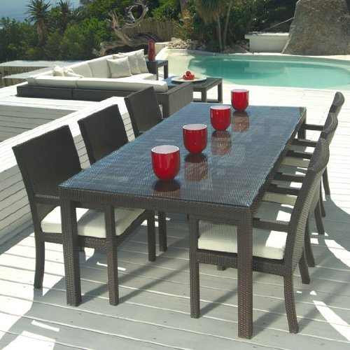 patio table and chairs amazon.com: outdoor wicker patio furniture new resin 7 pc dining table set UCBRYQF