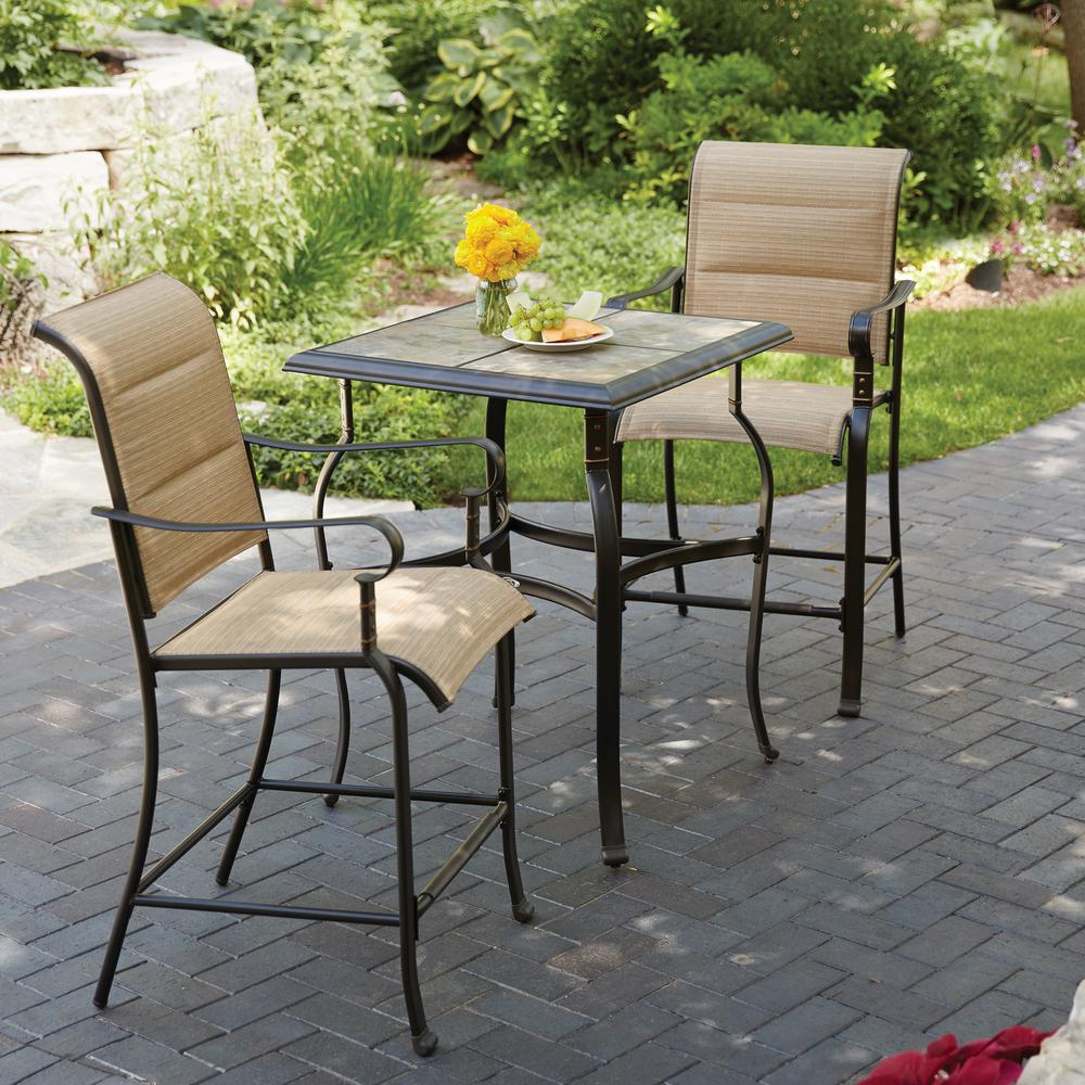 patio table and chairs belleville 3-piece padded sling outdoor bistro set PPCRZGQ
