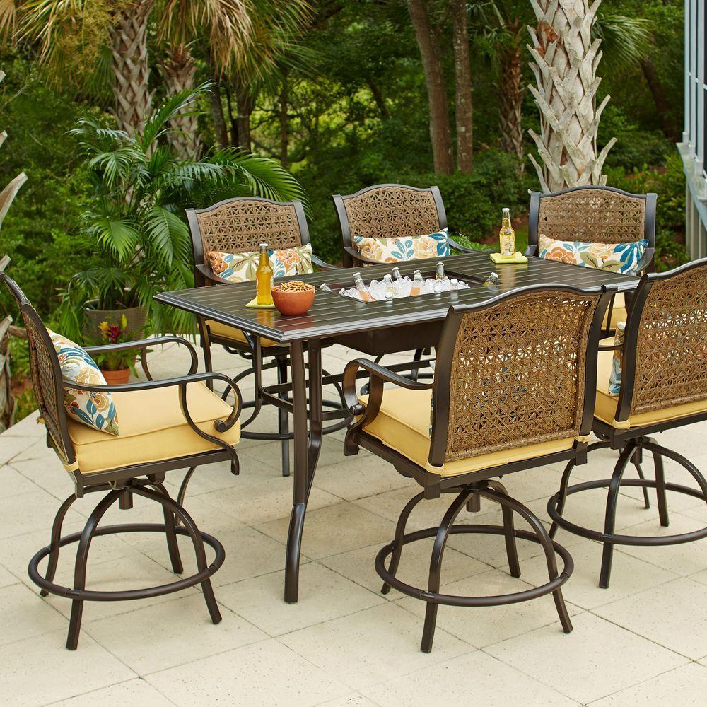 patio table and chairs hampton bay vichy springs 7-piece patio high dining set BADLRNN