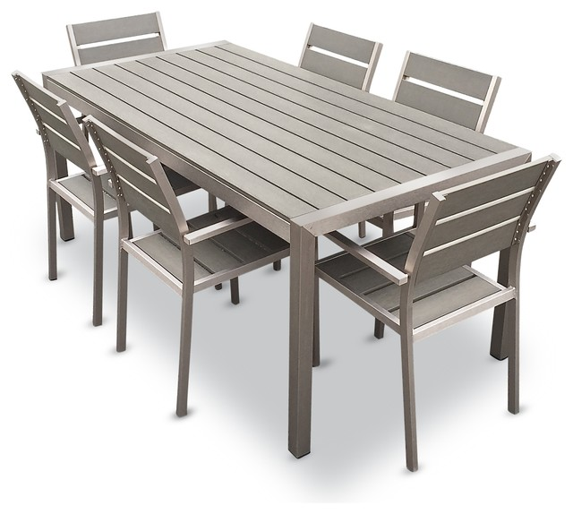 patio table and chairs outdoor aluminum resin 7-piece dining table and chairs set PXAWRIE