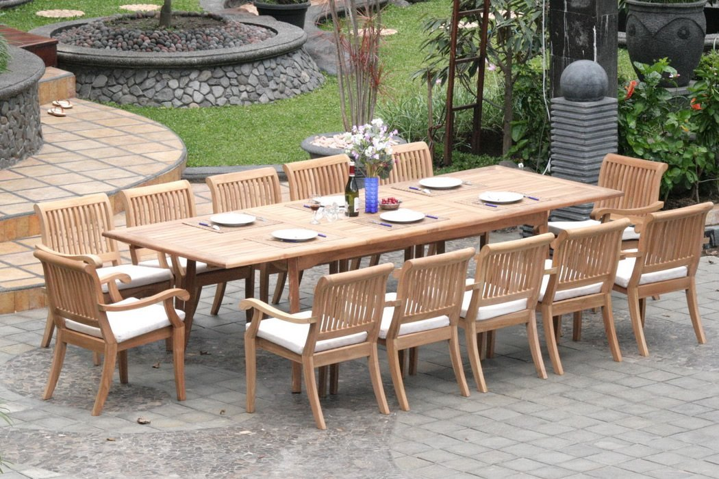 patio table sets 13-piece-teak-dining-set TVMSNWR