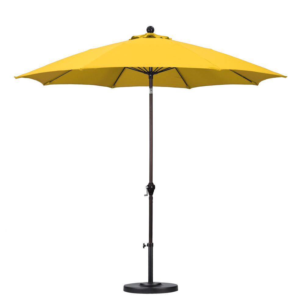 patio umbrellas california umbrella 9 ft. fiberglass push tilt patio umbrella in yellow GNCTEEG