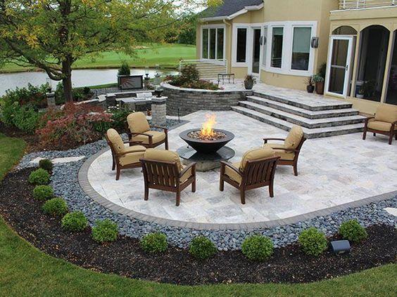 paver patio ideas stairs, firepit, paver patio with travertine, back yards, patio PDGUYQL