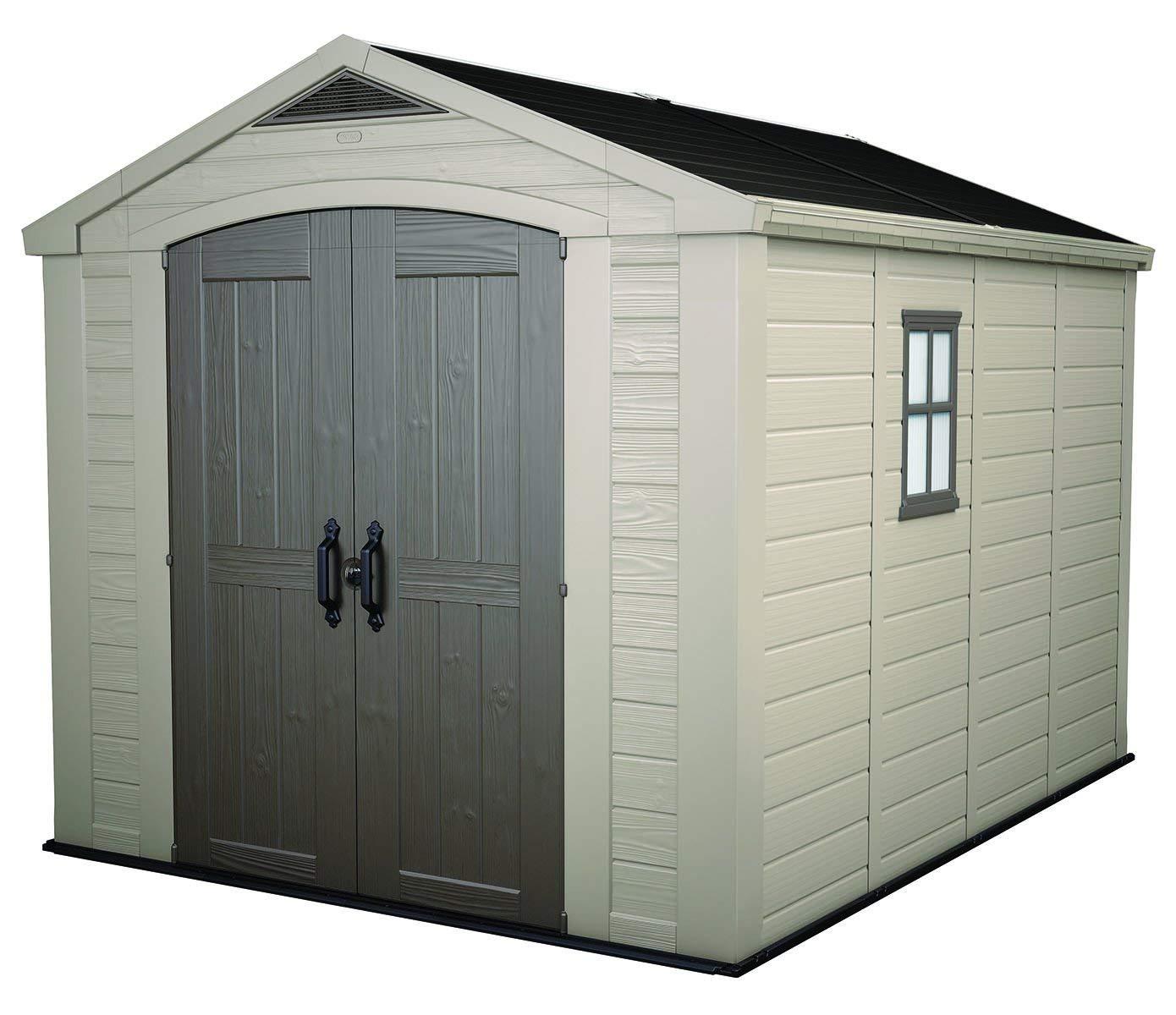 plastic garden shed amazon.com : keter factor large 8 x 11 ft. resin outdoor yard AAXOEMM