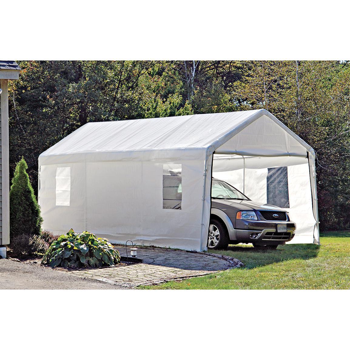portable carport shelterlogic portable garage canopy carport, 10u0027 x 20u0027, white cover KKFIGZQ