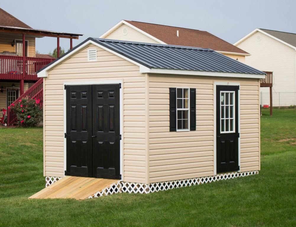 portable storage sheds 10×12 vinyl cottage tan black metal 7 medium ZASWIHC