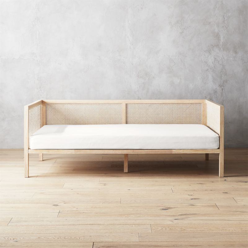 rattan furniture boho natural daybed with pearl white mattress cover RIPTHBM