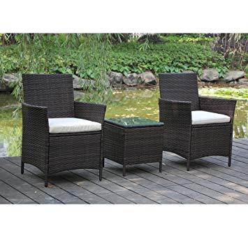 rattan garden chairs viva home patio rattan outdoor garden furniture set of 3pcs, wicker chairs HUMPHLM