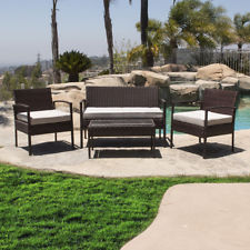 rattan outdoor furniture 4pc outdoor wicker patio set sectional cushioned furniture rattan garden,  brown GRRFVIX
