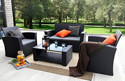 rattan outdoor furniture baner garden (n87) 4 pieces outdoor furniture complete patio cushion wicker FSDQVRD